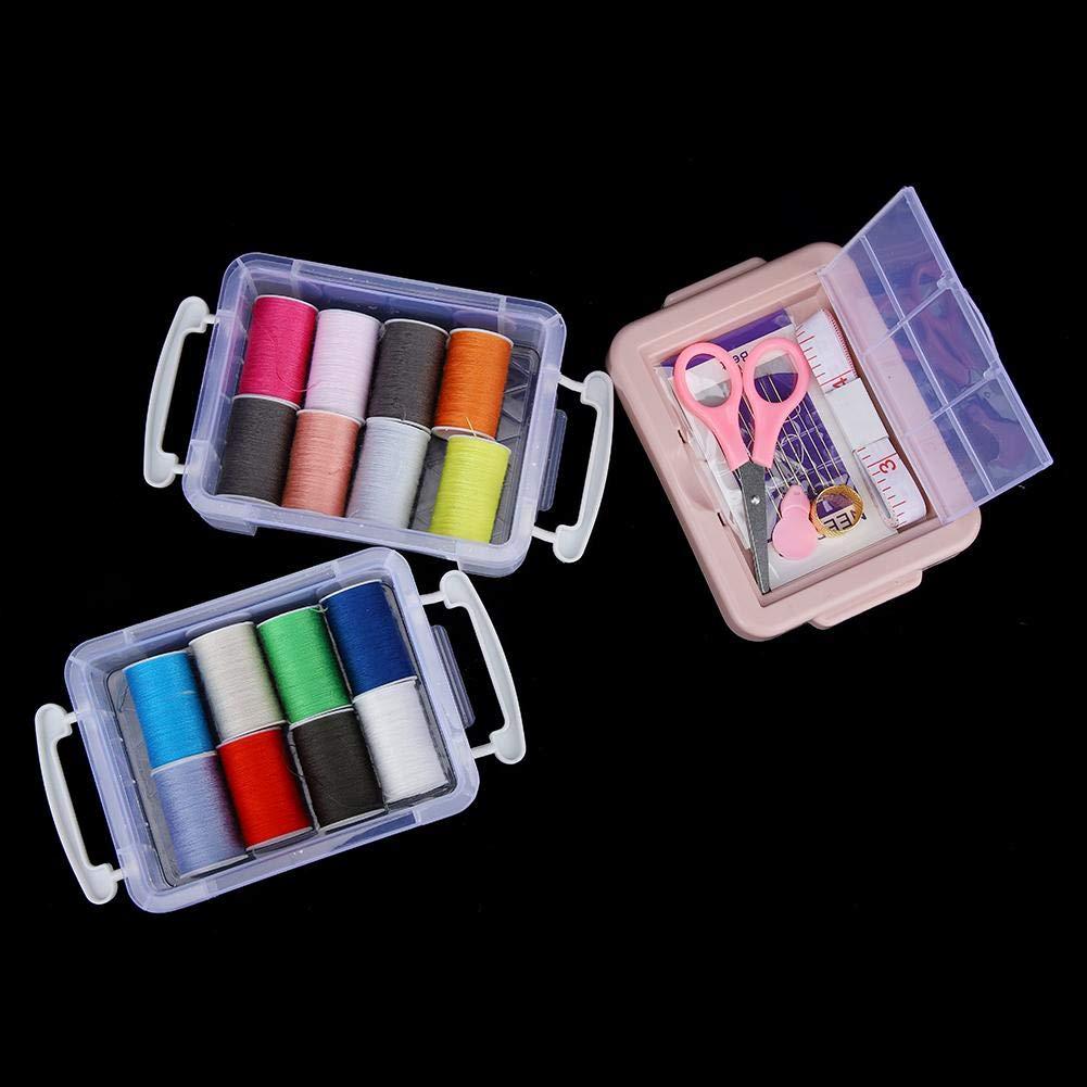 Hilo Kit de Costura para el hogar Cinta de medir dedal Conjunto de Agujas con Caja de Almacenamiento Tijera Gris Jeffergarden