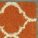 "Sweethome Stores COZY3331-5X7 Shaggy Rug, 5'3"" X7', Orange Trellis"