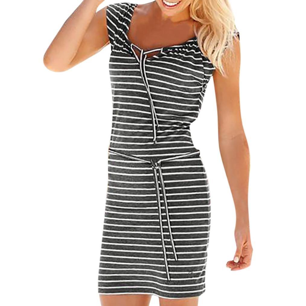 ESAILQ Mode Frauen Sommer Boho Streifen Lange Maxi Kleid Abend Party Strand Kleider(,)