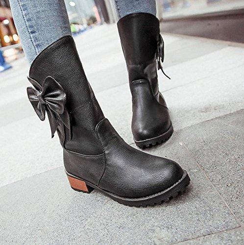 Mee Shoes Damen süß Schleife chunky heel halbschaft warmgefüttert Stiefel Schwarz