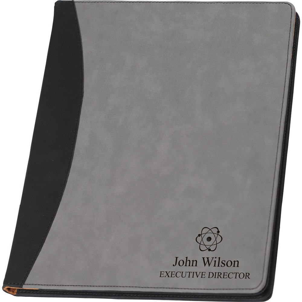 Faux Leather Business Portfolio or Padfolio Folio Grey Writing Pad, Professional Notepad Organizer, Women or Men Executive Letter Sized Notebook Binder, Customized, Custom Logo, up to Two Lines