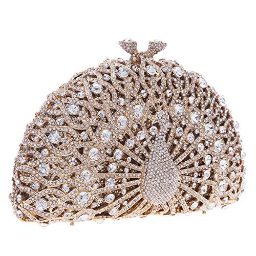 Glitter Black Evening Gold Bonjanvye Clutch For Peacock Girls Bag Crystal dY8qf4