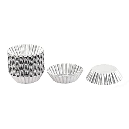 uxcell Stainless Steel Kitchen Flower Shaped Cake Egg Tart Pudding Mold 20pcs Silver Tone