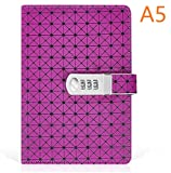 Journal with Lock, A5 Size, PU Leather Combination Lock Diary Travel Writing Notebook (Purple)