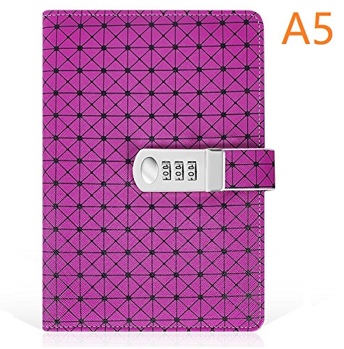 Journal with Lock, A5 Size, PU Leather Combination Lock Diary Travel Writing Notebook (Purple) by koboome