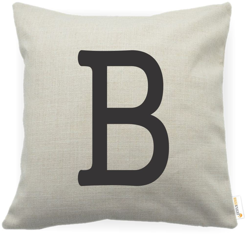 Rikki Knight Bold Letter B Initial Monogram Cotton Linen Decorative Throw Pillow Case Cushion Cover with Hidden Zipper - 18 X 18 - Printed in The USA