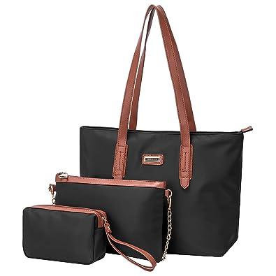 80988c2b22fe Amazon.com  SAMSHOWS Waterproof Oxford Nylon Work Tote Shoulder Bag Travel Satchel  Top Handle Bag 3 PCS Purse Sets for Women  Shoes