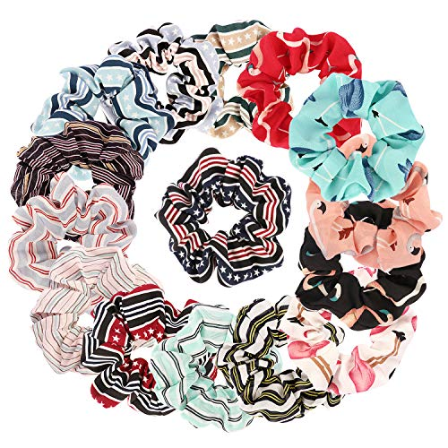 Ondder 15 Pack Chiffon Hair Scrunchies Flower Hair Scrunchy Hair Bow Chiffon Ponytail Holder Bobbles Elastic Hair Ties Bands, 15 Pieces