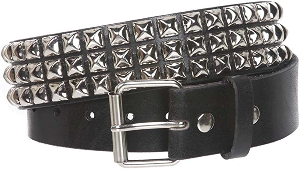 MONIQUE Men Three Row Snap On Metal Buckle Silver Studded Leather 1.75 Belt
