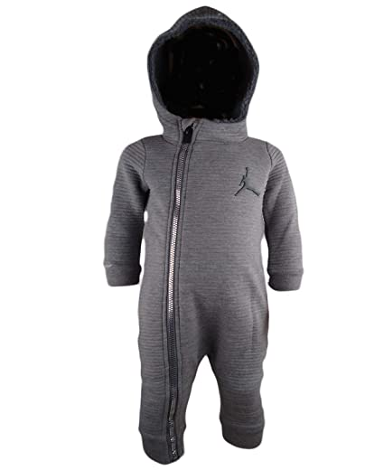 1251b3f33 Amazon.com: Jordan Infant Boys Hooded Fleece Lined Coverall (3/6 Months,  Carbon HTHR): Clothing