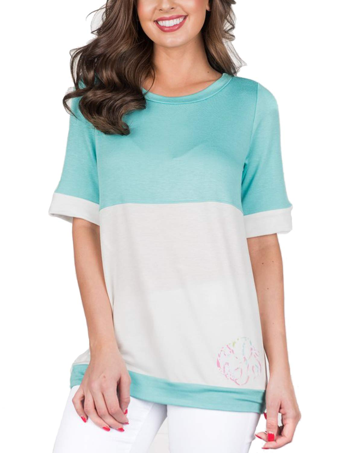 Blooming Jelly Women's Color Block Shirt Round Neck Short Sleeve Top Green