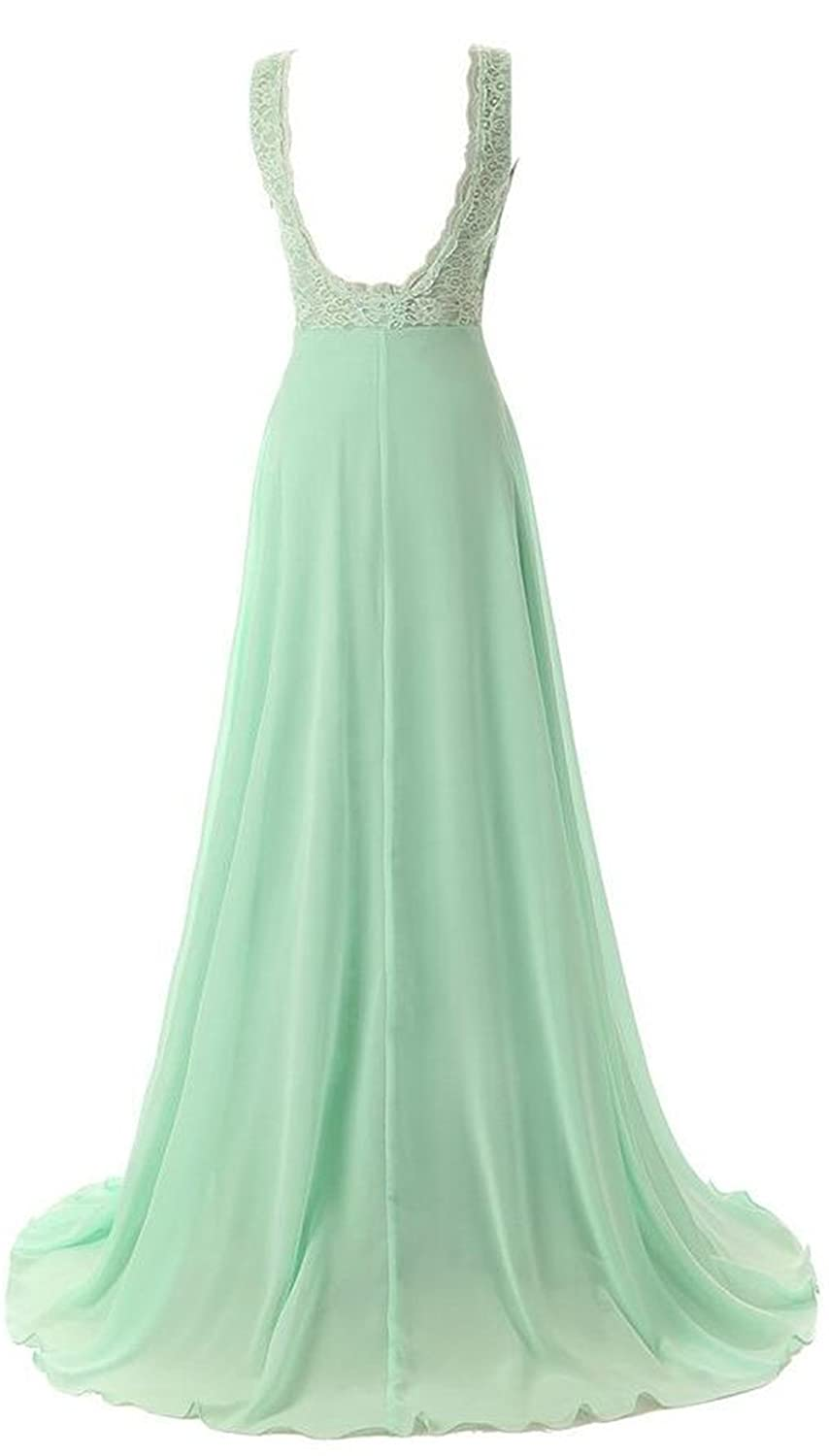 AngelDragon A-Line Lace Long Chiffon Evening Gowns Backless Prom Dress