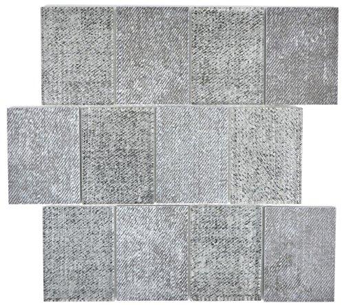 Mosaic Tile Translucent Ceramic Grey Rectangular Glass Mosaic Crystal Ceramic Grey for Wall Bathroom Shower Kitchen Tile…