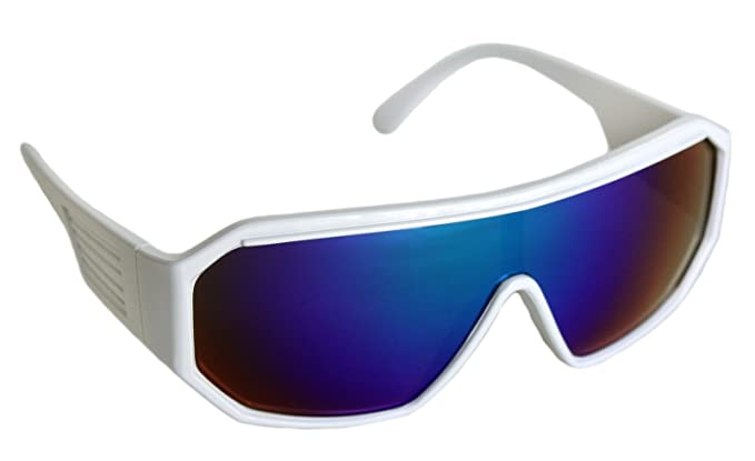 23a9ca8f11 Amazon.com  Rasslor Retro White Shield Sunglasses  Clothing