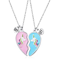 Birthday Gift For Best Friend Sister Heart Necklace BFF Unicorn Jewelry Gift for Friends or Fun Sister Gift