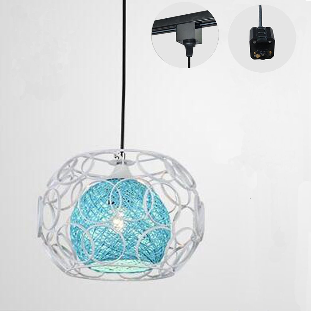 Kiven H-type 3 wire track light pendants Length 4.9 feet restaurant chandelier decorative Chandelier instant pendant light bulb not include Handmade Rattan Ball Pendant Lamp (TB0259-B)Blue