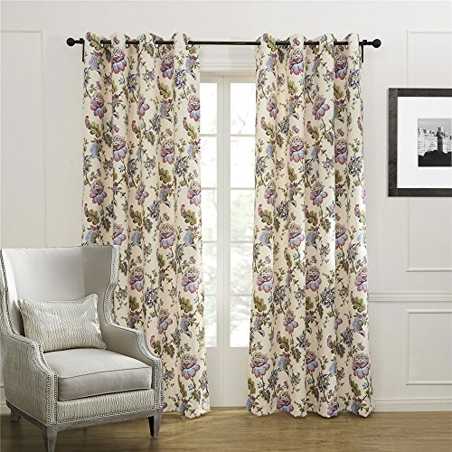 IYUEGO Country Colorful Blooming Flowers Blackout Grommet Top Curtain Draperies With Multi Size Custom 50″ W x 63″ L (One Panel) Review