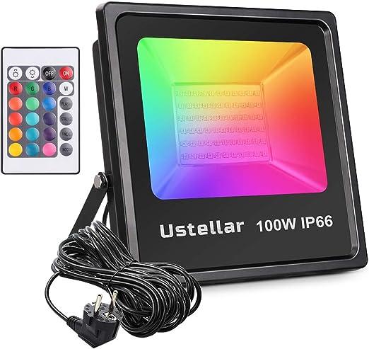 Ustellar 100W Foco LED RGB Exterior con Control Remoto de 16 ...