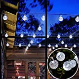 Outdoor Solar Powered String Waterproof Lights 20 ft Garland 30LED Fairy String Lights Bubble Crystal Ball Lights Decorative Lighting for Indoor Garden Home Holiday Decorations (White)