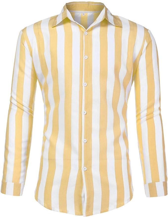 Nueva Camisa a Rayas de Manga Larga para Hombre: Amazon.es: Ropa