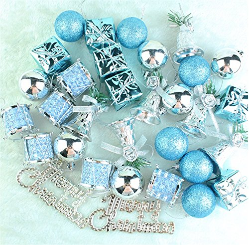 Patty Both Shatterproof Shiny and Polshed Glossy Christmas Tree Ball Ornaments Decorations Pack of 32 (Blue)