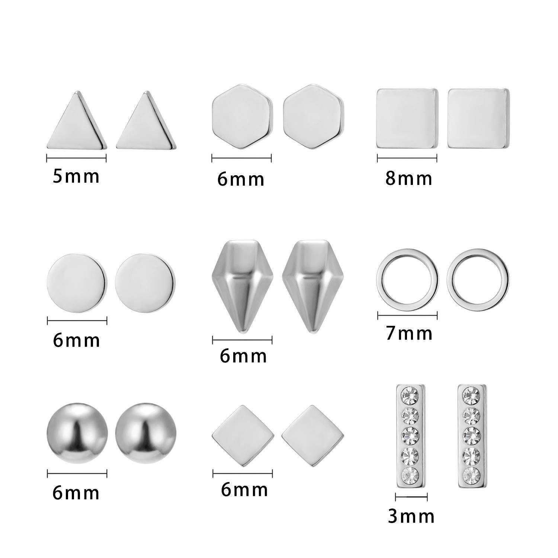 Womens Polished Face Triangle Earrings Geometric Stud Earrings For Women Girls Stainless Steel Statement Earrings