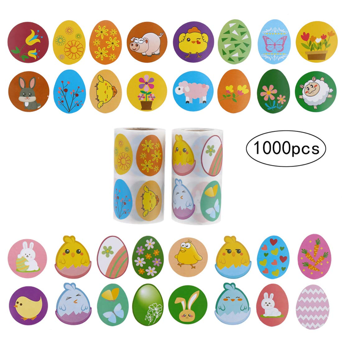 CCINEE Easter Stickers Children 1000Pcs Easter Egg Stickers Roll Novelty Assorted 3.5 Wide Roll of Stickers