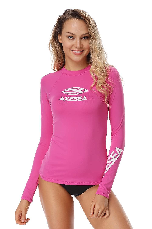 AXESEA Women Rash Guard LongSleeveActive Top UPF50+ Rashguard Swim ShirtSurf Swimwear