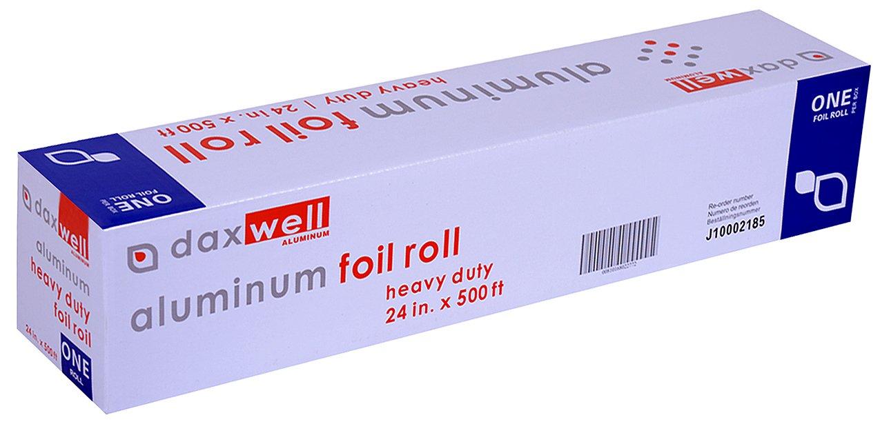 Daxwell Aluminum Heavy Duty Foil Roll, 12 Width x 1000' Length, with Cutter Box (Case of 4 Rolls)
