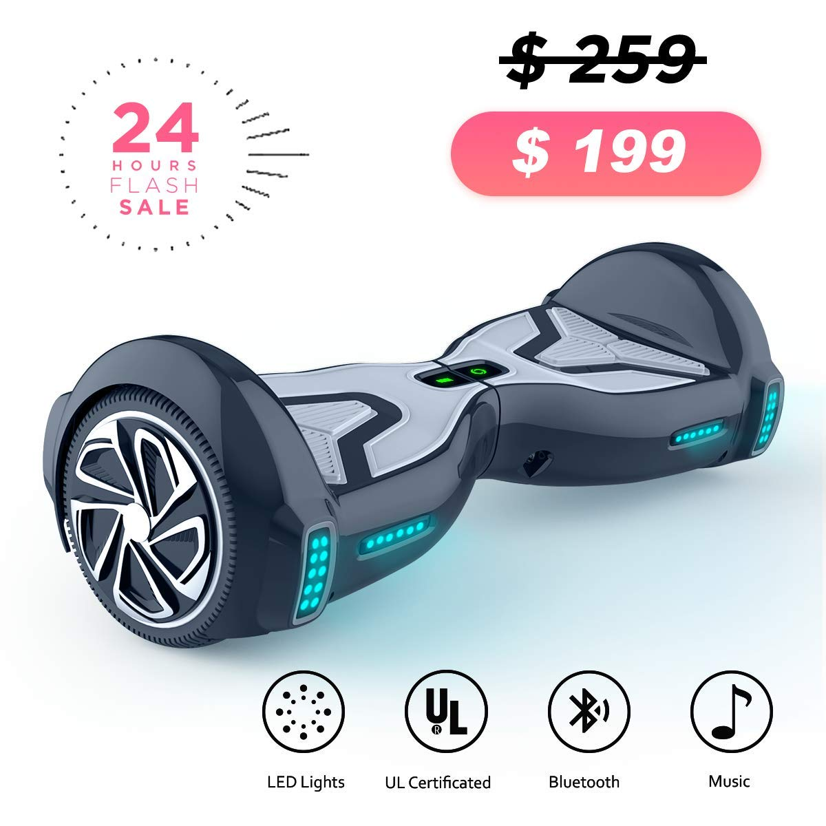 TOMOLOO Hoverboard for Kids and Adult, 6.5'' Two Wheels App Controlled Electric Self Balancing Scooter UL2272 Certified ...