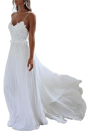 monkidoll womens chiffon beach wedding dresses white