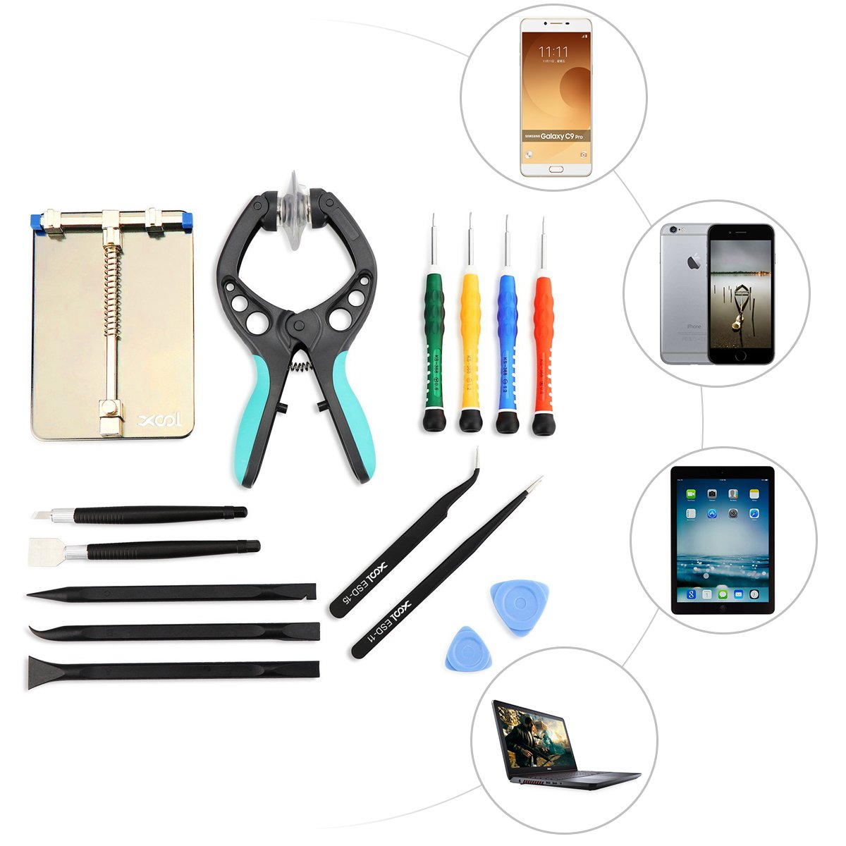 LCD Screen Opening Pliers Opening Repair Tool Kit with PCB Fixtures, ESD Tweezers, Opening Pry Tools, Screwdrivers, Scraper Knife and Carving Knife for cell phone and electronic products maintenance by XOOL (Image #8)