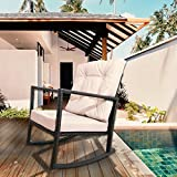 Yardeen Rocking Rattan Chair Outdoor Patio Yard Furniture Wicker Chair Creamy White Cushion