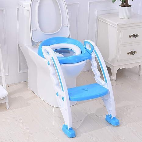 Asiento wc escalera Para Niños y bebé,Asiento wc escalera para niño,Ajustable Asiento de poty de escalera Con escalera Con Protección contra salpicaduras-Azul: Amazon.es: Bebé