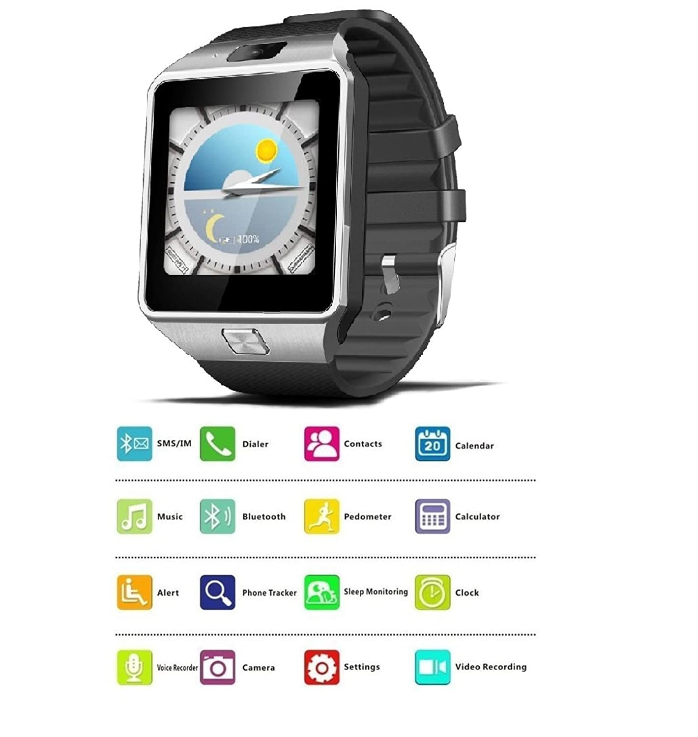 Amazon.com: Reloj Inteligente DEPORTIVO CON CAMARA PARA IPHONE Y ANDROID DIGITAL DE MUJER Y HOMBRE UNISEX RE0107 (SILVER/BLACK): Watches