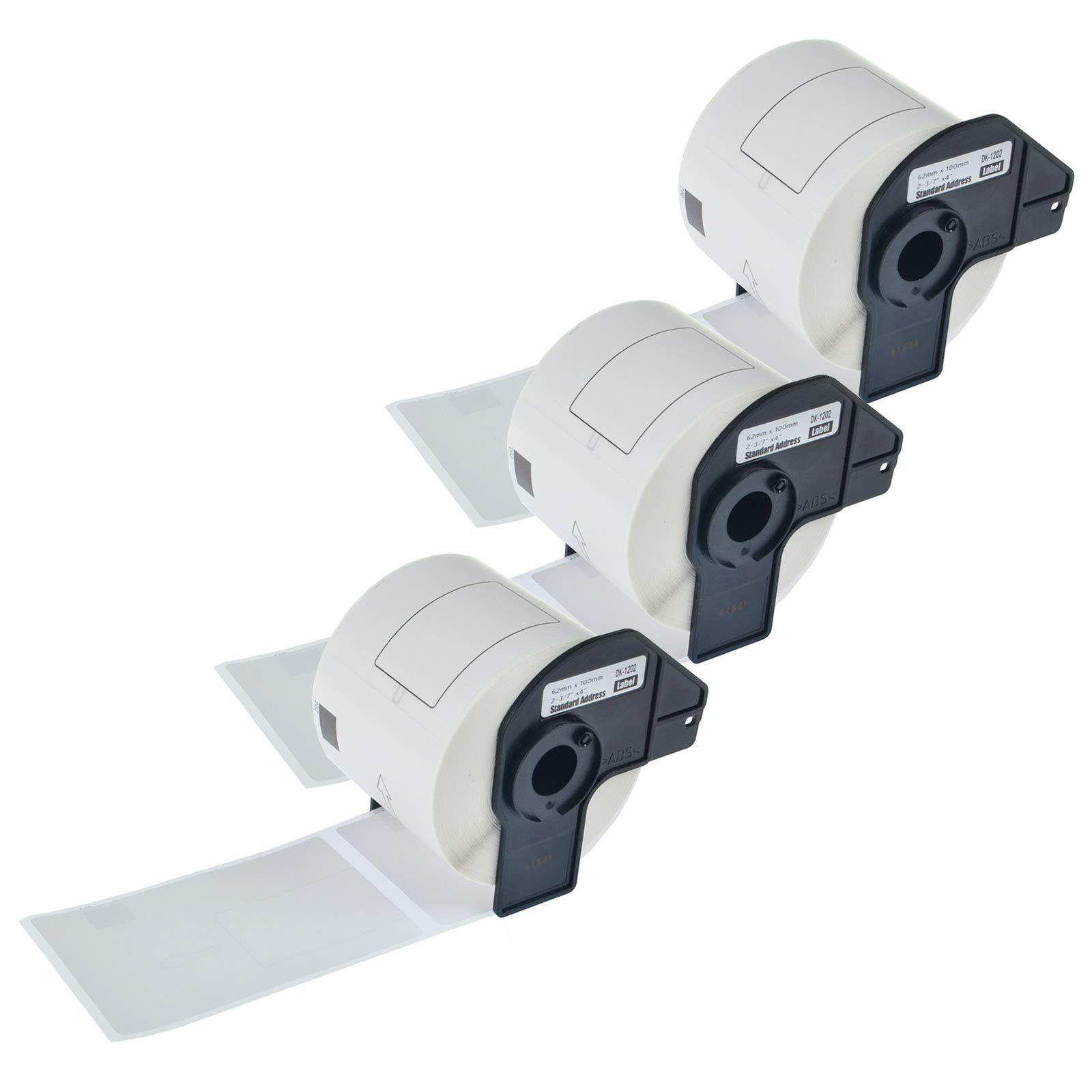 KCYMTONER 3 Rolls Compatible for Brother DK-1202 White Continuous Length Paper Tape Labels,62mm x 100mm (2-3/7'' x 4''), use in P-Touch QL-500 QL-710W QL-1050 QL-1060N Series Label Maker