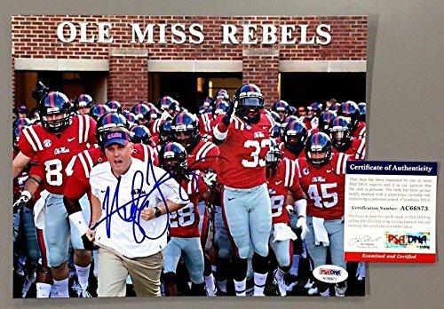 Hugh Freeze Signed Ole Miss Rebels Head Coach 8x10 Photo Coa Ac66873 - PSA/DNA Certified