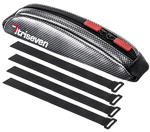TriSeven Carbon Aero Bag 10Cycling Frame BagLong Distance Triathlon BagMTB Bag0,4L CapacityTop Tube BagBike Accessories6 Gels Pump Wallet4 Straps or 2 Bolts100% (Silver)