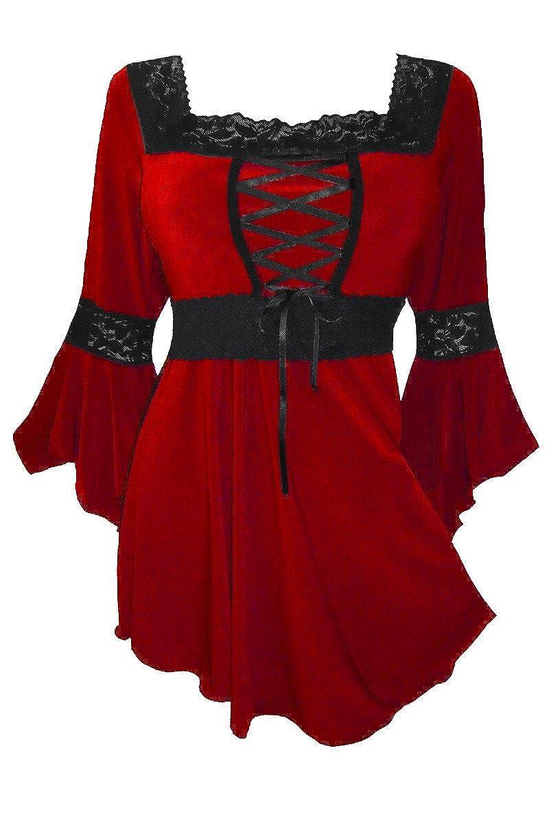 Dare to Wear Victorian Gothic Peasant Women's Plus Size Renaissance Corset Top FC05