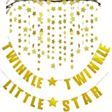 Fecedy Gold Twinkle Twinkle Little Star Banner With 2pcs Sparkling Star Garland For Party