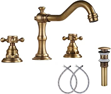 Ggstudy 8 Inch 2 Handles 3 Holes Widespread Bathroom Sink Faucet Antique Brass Bathroom Vanity Faucet Basin Mixer Tap Faucet Washingroom Faucet Matching Metal Pop Up Drain With Overflow Amazon Com