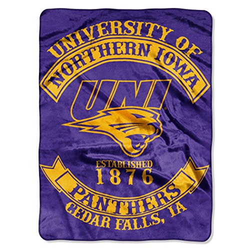 Northern Iowa Football Rug - Northern Iowa OFFICIAL Collegiate, Rebel 60x 80 Raschel Throw