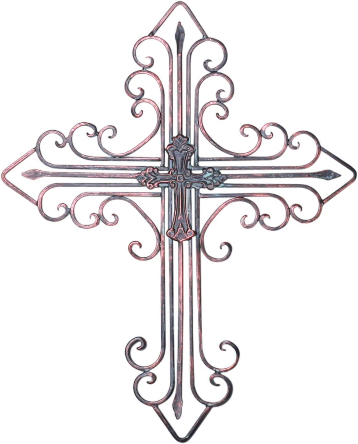 "Zksanmer Antique Wall Mount Layered Cross, Metal Scrolled Wall Art Wall Sculptures Cross with Hook, Decorative Iron Hanging Cross Home Decor, 14.2"" x 17.3"", Copper Brown"