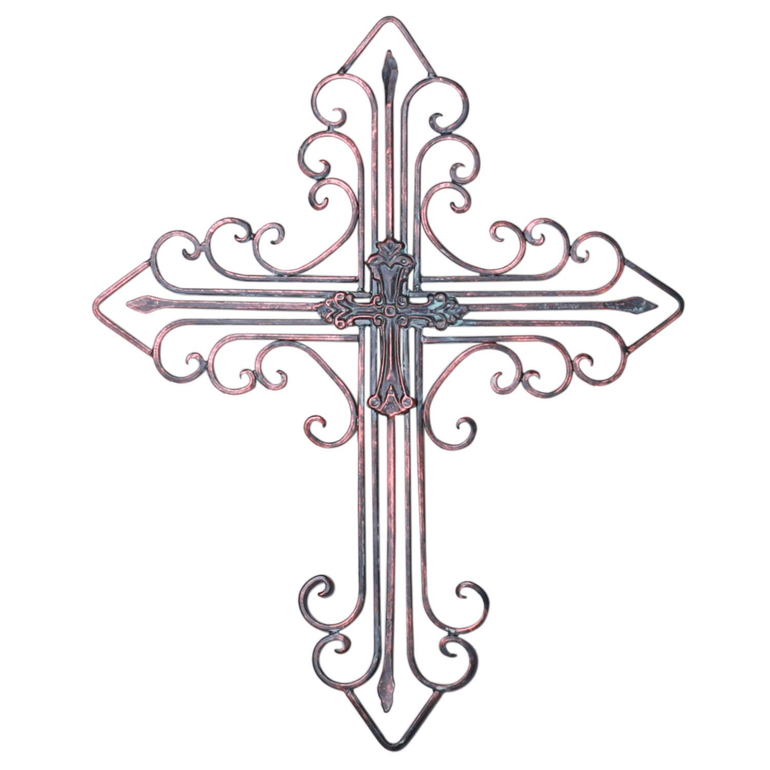 Kleanner Antique Wall Mount Layered Cross, Metal Scrolled Wall Art Wall Sculptures Cross with Hook, Decorative Iron Hanging Cross Home Decor, 14.2'' x 17.3'', Copper Brown
