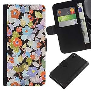 KLONGSHOP // Tirón de la caja Cartera de cuero con ranuras para tarjetas - Rustic Art Wallpaper floral - Sony Xperia Z3 D6603 //