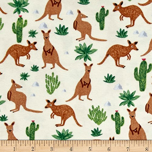 Dear Stella Flannel Wild & Free Kangaroos Cream Fabric By The Yard