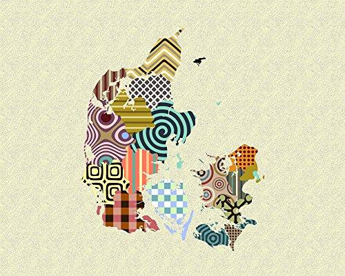 Denmark Map Poster Art Wall Decor Cubism Geometric Print, Unframed