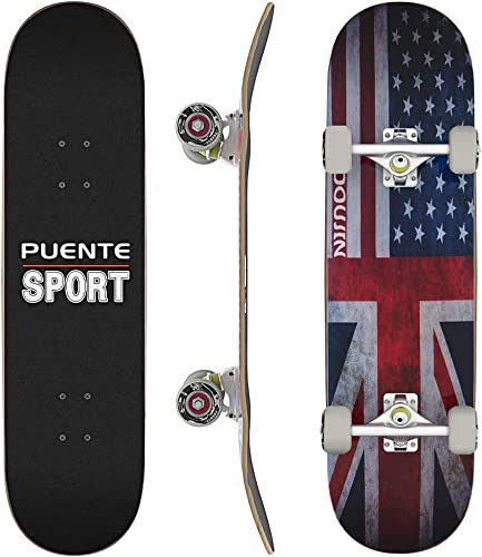 PUENTE Complete Skateboards, 31 inch Pro Skateboard for Boys Girls Kids Youth Adults, Tricks Skate Board for Beginners Pro, Double Kick 7 Layer Canadian Maple Wood Concave Skateboard