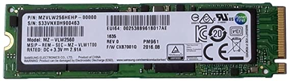Samsung MZVLW256HEHP PM961 256GB M.2 Internal SSD - OEM Internal Solid State Drives at amazon