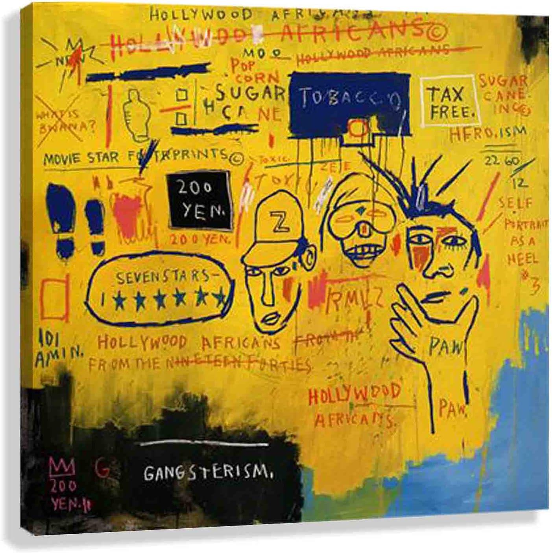 Jean Michel Basquiat 《Hollywood Africans》 pintada cuadros para dormitorios modernos lienzos decorativos cuadros decorativos hogar decoracion salon (20x20cm7x7in, enmarcado)
